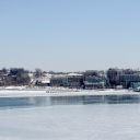 This is the National Harbor.  The races will be on the water to the left.  This was taken Feb 20.  I was going to take another today but the snow was coming down so hard, I could not see the shore.