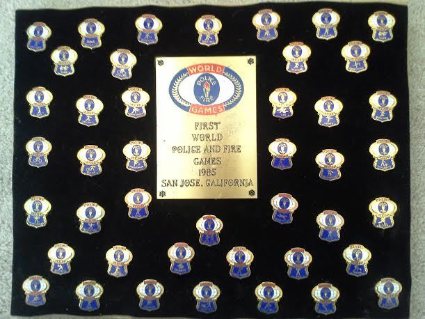A complete set of pins from the 1985 WPFG. The plaque on the bacck says: Set # 2105 Limited Edition of 5000, 1st World Police & Fire Games. I can't believe it has survived two moves and a basement flood. Thought you would enjoy seeing it.