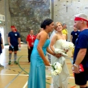 Bridal Party at Dodgeball Game - Looks like the bridal party preferred the DODGEBALL event over their own affair during the 2013 Games in Belfast