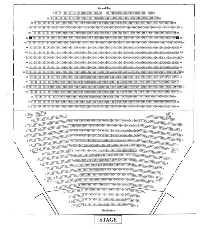 The seating chart for the proposed vunue George Mason University Center for the Performing Arts. This is known as the Concert Hall. The Grand Tier overhangs the lower tier. Seats over 1,900 people.