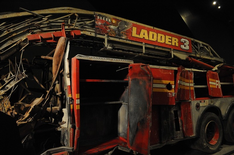 HONOR - The apparatus firefighters from Ladder 3 used to respond to the World Trade Center site. It now is in the 9/11 Memorial Museum in Lower Manhattan, which opened today. #neverforget
