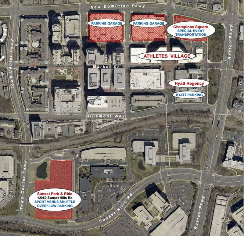 Map layout of the Athletes Village and Champions Square pavilions for after Games activites and socializing. Please use the two Parking Garages at the top of the picture and the Sunset Park & Ride overflow at the bottom. Those are FREE. If you park in the Hyatt Regency hotel parking garage there is a fee.