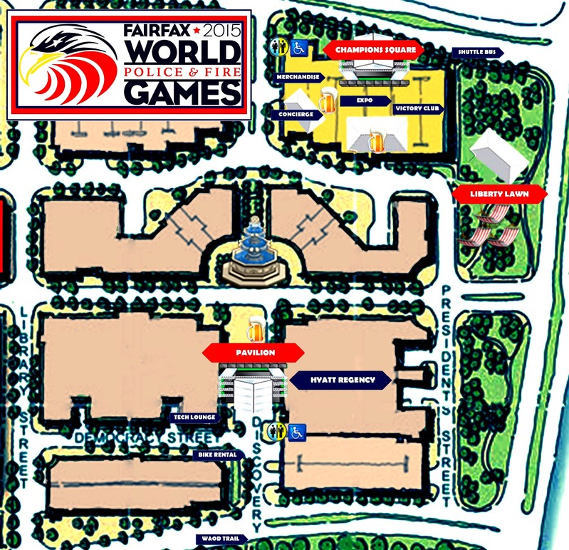 Hey everyone, here is a quick look at the Athletes Village opening up in a few weeks. There are three areas in the Athletes Village: Champions Square, Liberty Lawn and the Pavilion. Only the athletes and those with the Friends & Family credentials may enter the Pavilion area. The general public can enter the Champions Square and Liberty Lawn areas. I will post a detailed list of what we have in each area. Notice the beer mugs. Don't forget to bring your pins, patches and shirts to trade! #village