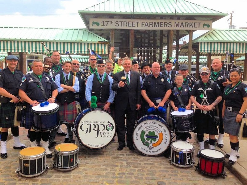 HAPPY ST. PATRICK'S DAY from our Fairfax 2015 Honorary Board Chair, Virginia Gov. Terry McAuliffe surrounded by the Metro Richmond Police Emerald Society. #saintpatricksday
